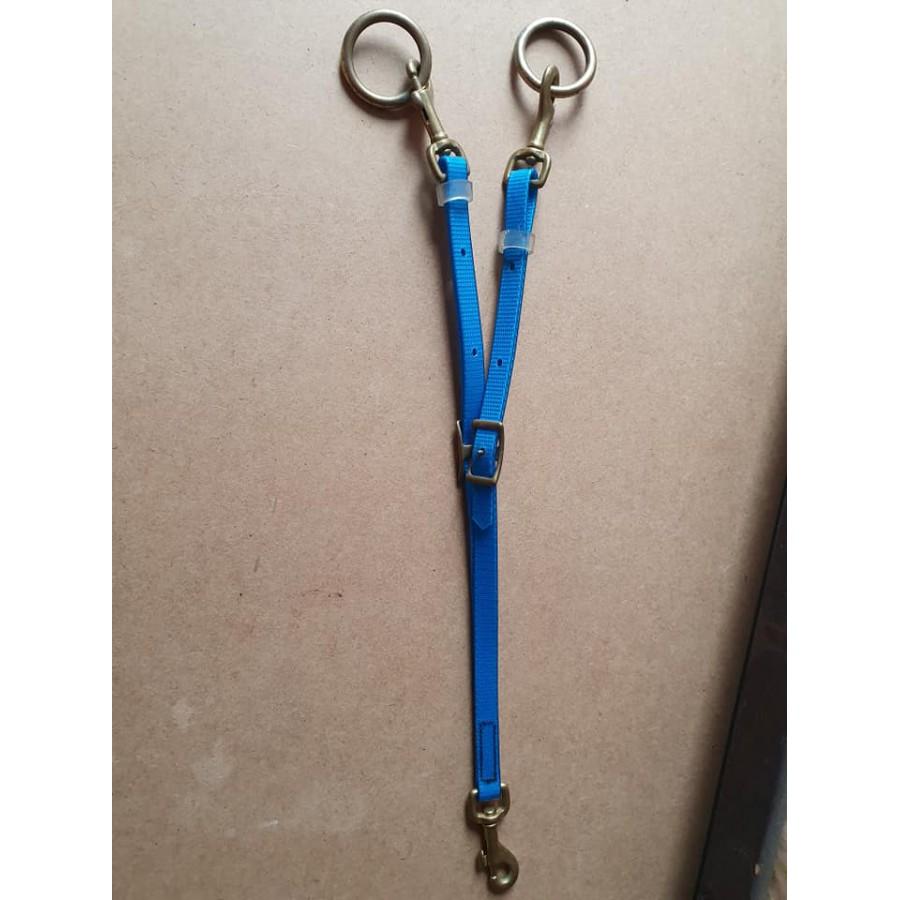 Biothane martingaal vork blauw / messing