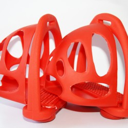 Hipponeiro kunststof korf stijgbeugels rood