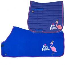 Combi Deal - Pfiff Fabulous Flamingo FULL Dressuur sjabrak & fleecedeken blauw