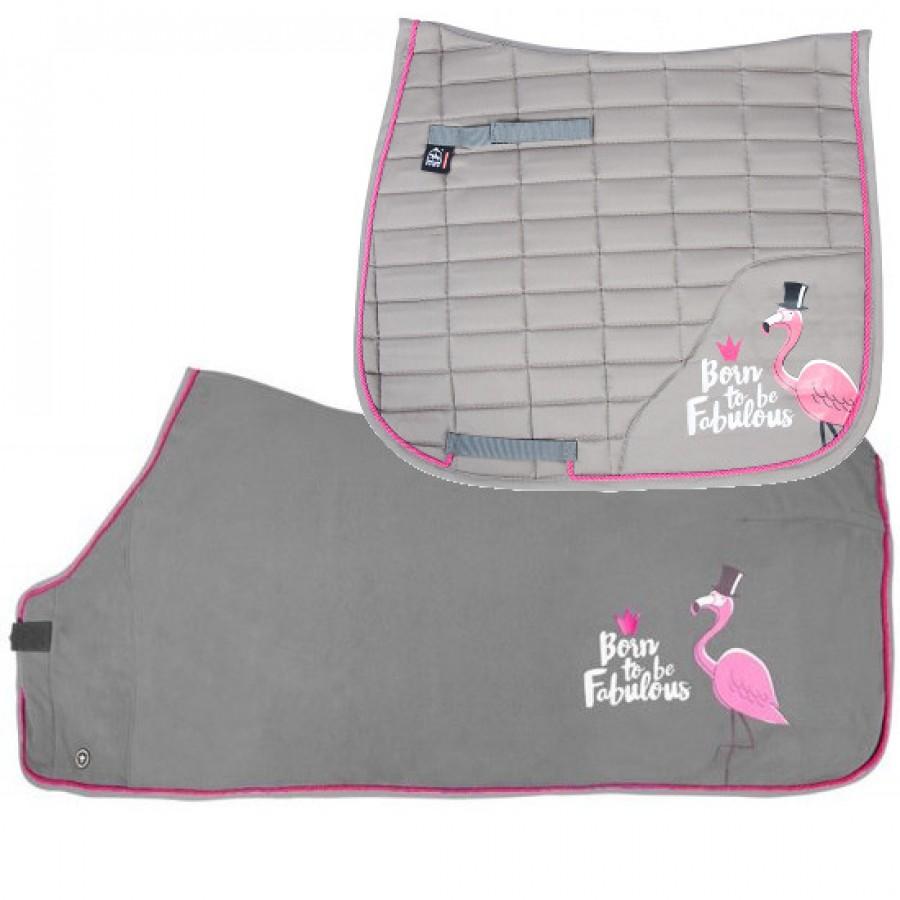 Combi Deal - Pfiff Fabulous Flamingo FULL Dressuur sjabrak & fleecedeken grijs