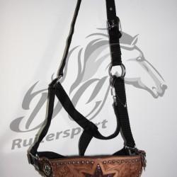 Hipponeiro STAR nylon halster met lederen neusriem Western style