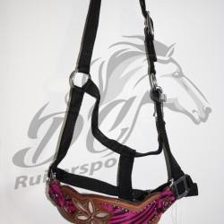 Hipponeiro FLOWER nylon halster met lederen neusriem Western style