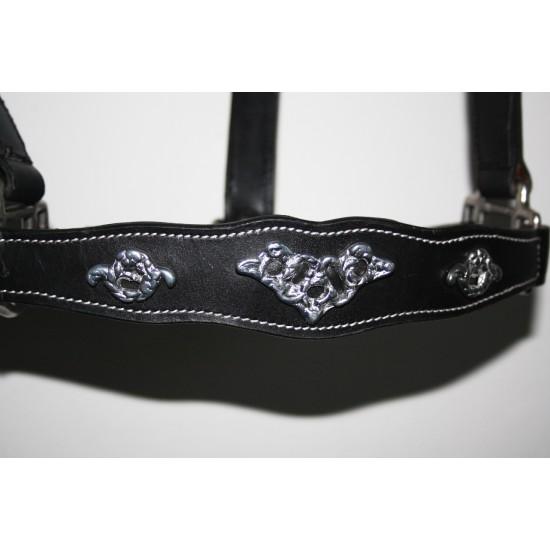Lederen halster Barok style zwart met zilver