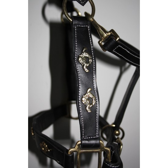 Lederen halster Barok style zwart met goud